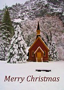 Seasonal Greeting Cards Posters - Yosemite Chapel - Christmas Card Poster by Heidi Smith