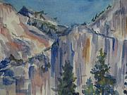 National Parks Paintings - Yosemite Cliffs by Joyce Kanyuk