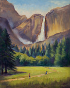 Yosemite Painting Framed Prints - Yosemite Falls Framed Print by Karin  Leonard
