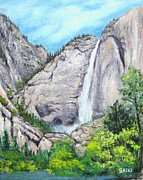 Yosemite Paintings - Yosemite Falls by Lorna Saiki