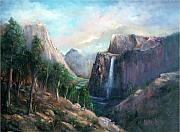 National Parks Paintings - Yosemite Falls by Sally Seago