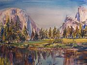 National Parks Paintings - Yosemite from the Valley by Joyce Kanyuk