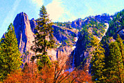 Impressionist Art Digital Art Prints - Yosemite In The Fall . 7D6287 Print by Wingsdomain Art and Photography
