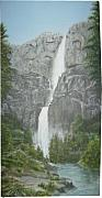 Waterfalls Paintings - Yosemite by KC Knight