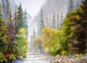 National Park Paintings - Yosemite Mist by Shirley Braithwaite Hunt