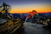 Full Moon Art - Yosemite National Park Glacier Point Half Dome Sunset by Scott McGuire