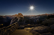 California Photography Posters - Yosemite National Park Half Dome Full Moon Poster by Scott McGuire