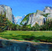 Half Dome Painting Prints - Yosemite National Park in the Spring Print by Charles and Stacey Matthews