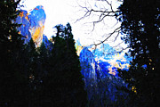 Impressionist Art Digital Art Prints - Yosemite Snow Top Mountains Print by Wingsdomain Art and Photography