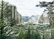 El Capitan Painting Prints - Yosemite ... The Tunnel Print by G H Hisayasu