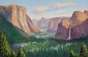 Yosemite Painting Framed Prints - Yosemite Valley Framed Print by Karin  Leonard