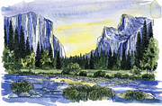 Yosemite Painting Framed Prints - Yosemite Valley  Morning Framed Print by Mark Jennings