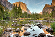 Rock Formation Prints - Yosemite Valley Reflected In Merced River Print by Ben Neumann