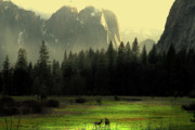 Bierstadt Photo Metal Prints - Yosemite Village Golden Metal Print by Wingsdomain Art and Photography