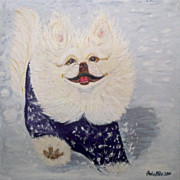 Sweater Painting Originals - Yoshi The Pekiningese Snowsurfer by Ania M Milo