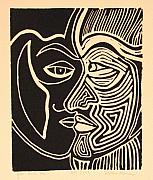 Linocut Drawings Metal Prints - You and Me Metal Print by Rollin Kocsis