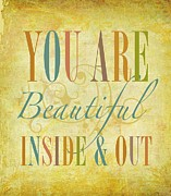 Beautiful Words Posters - You Are Beautiful Poster by Cindy Greenbean