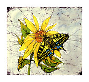 Peaceful Tapestries - Textiles Posters - You Are My Sunshine Tiger Swallowtail and Sunflower Poster by Kathy Tsonas