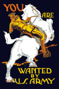 Horse Digital Art Prints - You Are Wanted By US Army Print by War Is Hell Store