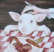 Pig Prints Paintings - You are What You Eat Number  2 by Georgia Annwell