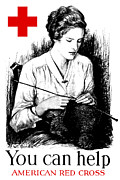 Knitting Posters - You Can Help American Red Cross Poster by War Is Hell Store
