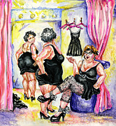 Dressing Room Paintings - You CAnt Go Wrong With Basic Black by Margaret Donat