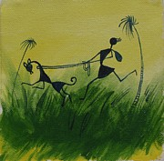 Warli Paintings - You En I In this beautiful world by Chintaman Rudra