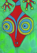 Green Tapestries - Textiles Posters - You Gecko Head Poster by Kelly     ZumBerge