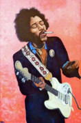 Jimi Hendrix Painting Originals - You Got Me Floating by Tom Roderick