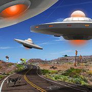 Ufo Posters - You Never Know What You will See On Route 66 2 Poster by Mike McGlothlen