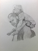 Father And Son Drawings - You OK up there by Peter Edward Green