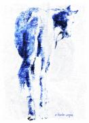 Blue Horse Prints - You Talking To Me... Print by Arline Wagner