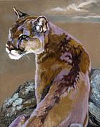 Mountain Lion Paintings - You talking to me by J W Baker