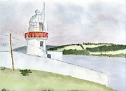 Sea Shore Drawings Prints - Youghal Lighthouse Print by Eva Ason