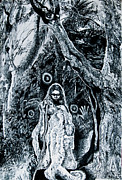 Young Aboriginal Woman And River Red Gum Print by Helen Duley
