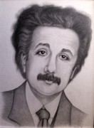Portraiture Drawings Prints - Young Albert Einstein Print by Sonsoles Shack