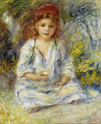 Hand In Hair Posters - Young Algerian Girl Poster by Pierre Auguste Renoir