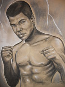 Boxing Mixed Media Framed Prints - Young Ali Framed Print by Terrence ONeal