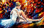 White Dress Painting Originals - Young Ballerina by Leonid Afremov