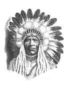 Western Pencil Drawings Prints - Young Blackfoot Print by Lee Updike