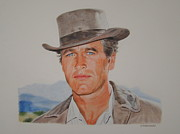 Butch Cassidy Drawings Prints - Young blue eyes Print by Gary Fernandez