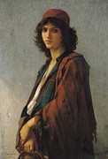 Half Length Paintings - Young Bohemian Serb by Charles Landelle