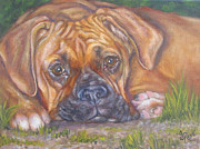 Boxer Painting Prints - Young Boxer Print by Gayle Rene