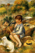 Male Dog Framed Prints - Young Boy by a Brook Framed Print by Pierre Auguste Renoir