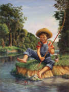 Creeks Posters - Young Boy Fishing river americana rustic rural nostalgic country American scene print Poster by Walt Curlee