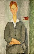 Gaze Painting Prints - Young boy with red hair Print by Amedeo Modigliani