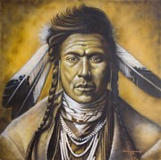 Native American Portrait Framed Prints - Young Brave Framed Print by Tim  Scoggins