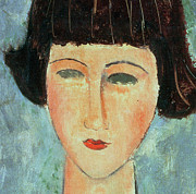 Close Up Painting Posters - Young Brunette Poster by Modigliani