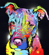Feline Mixed Media Metal Prints - Young Bull Pitbull Metal Print by Dean Russo