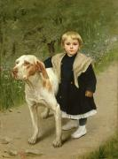 Trail Painting Prints - Young Child and a Big Dog Print by Luigi Toro